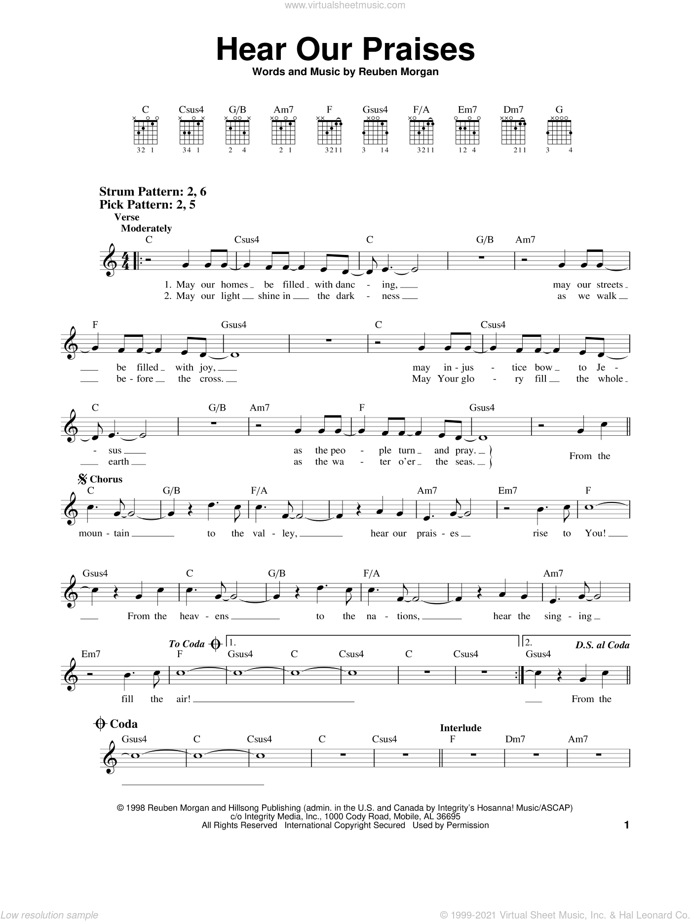 Hear Our Praises sheet music for guitar solo (chords) by Reuben Morgan, easy guitar (chords)