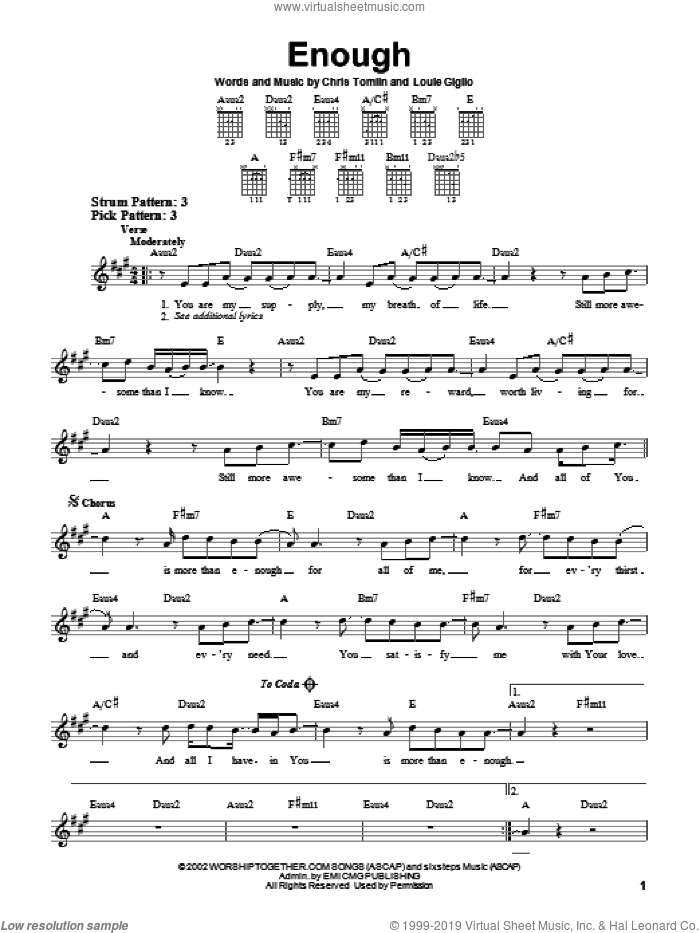 Enough sheet music for guitar solo (chords) by Chris Tomlin, Jeremy Camp and Louie Giglio, easy guitar (chords)