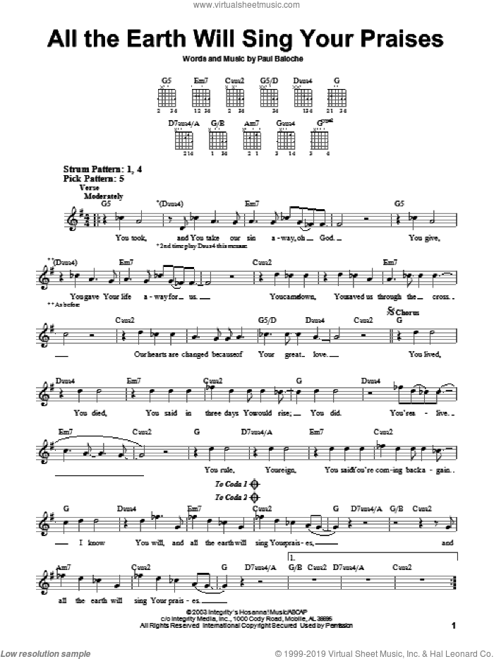 All The Earth Will Sing Your Praises sheet music for guitar solo (chords) by Paul Baloche, easy guitar (chords). Score Image Preview.
