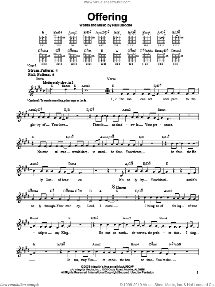 Offering sheet music for guitar solo (chords) by Paul Baloche. Score Image Preview.