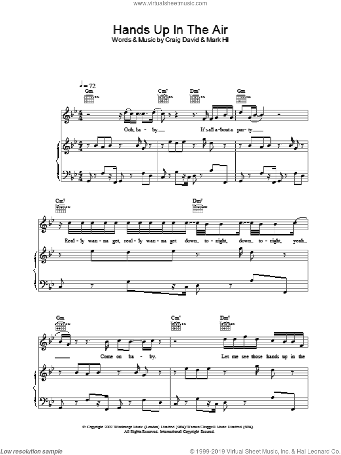 Hands Up In The Air sheet music for voice, piano or guitar by Craig David. Score Image Preview.