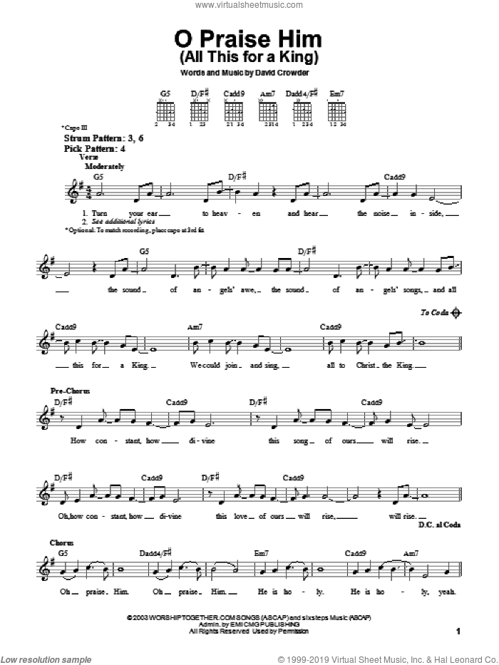 O Praise Him (All This For A King) sheet music for guitar solo (chords) by David Crowder Band and David Crowder, easy guitar (chords)