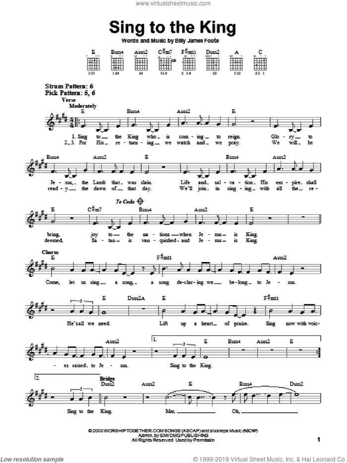 Sing To The King sheet music for guitar solo (chords) by Billy Foote, easy guitar (chords)