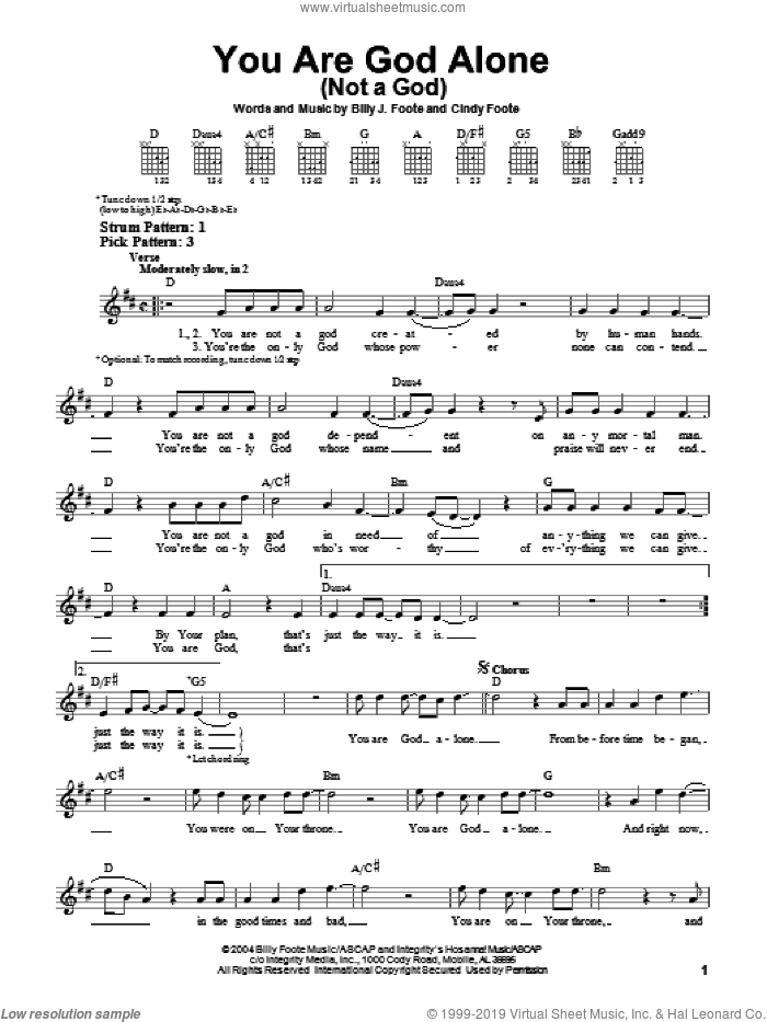 You Are God Alone (Not A God) sheet music for guitar solo (chords) by Phillips, Craig & Dean, Billy J. Foote and Cindy Foote, easy guitar (chords)