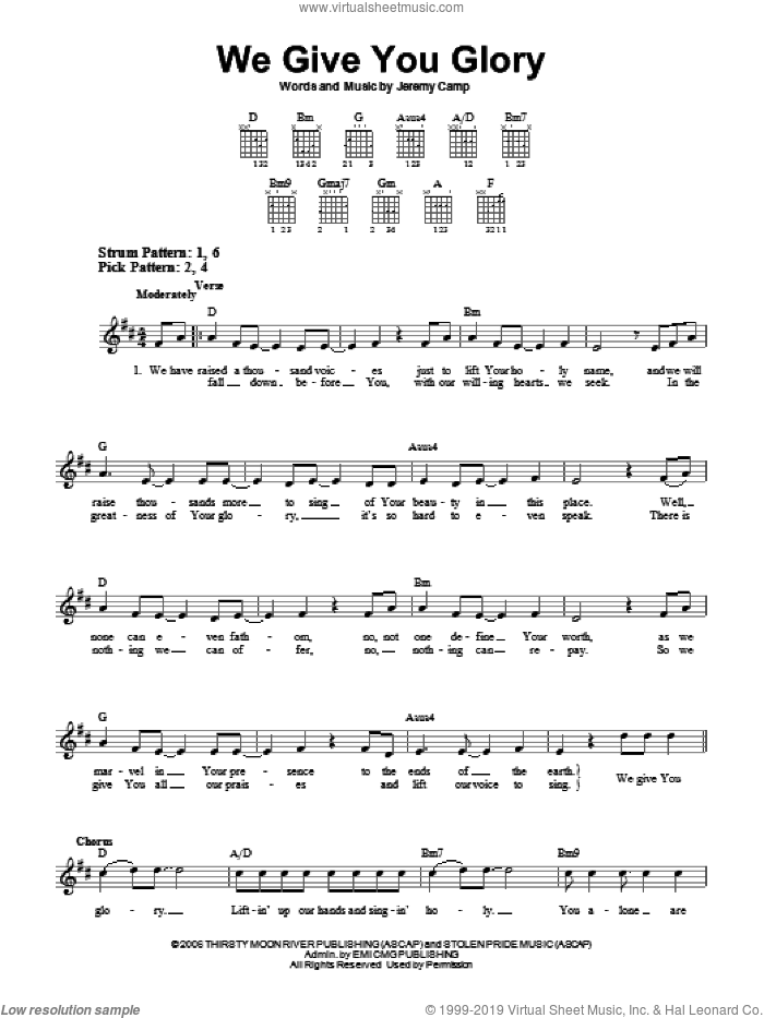 We Give You Glory sheet music for guitar solo (chords) by Jeremy Camp, easy guitar (chords)