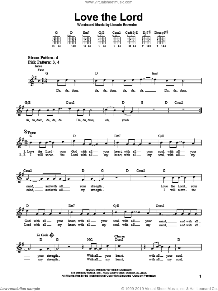 Love The Lord sheet music for guitar solo (chords) by Lincoln Brewster, easy guitar (chords)