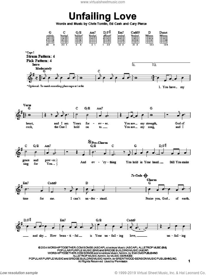 Unfailing Love sheet music for guitar solo (chords) by Chris Tomlin and Ed Cash. Score Image Preview.
