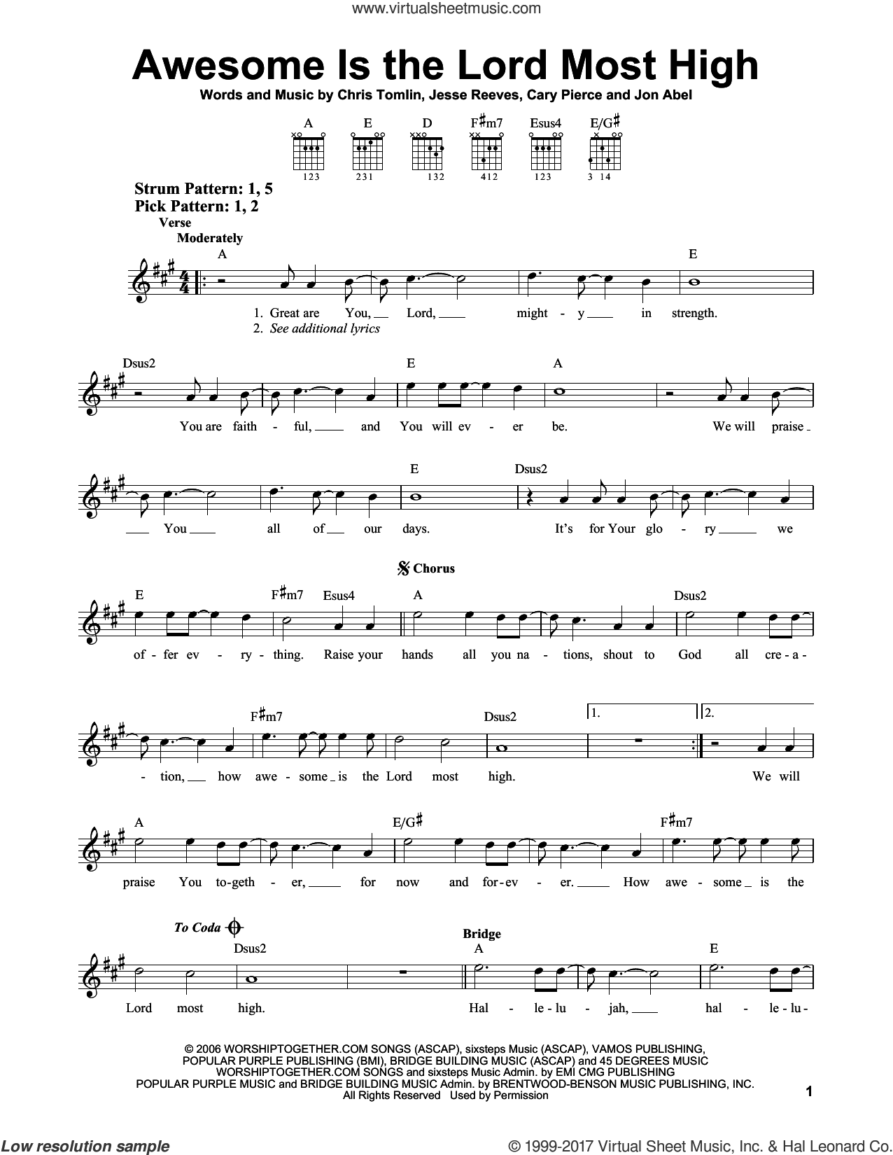 Awesome Is The Lord Most High sheet music for guitar solo (chords) by Chris Tomlin, Brenton Brown and Jesse Reeves. Score Image Preview.