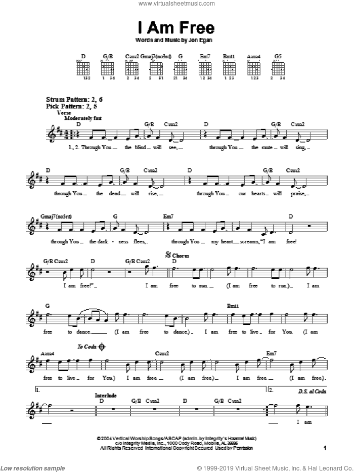 I Am Free sheet music for guitar solo (chords) by Newsboys and Jon Egan, easy guitar (chords)