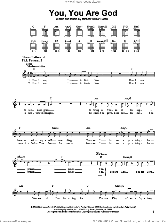 You, You Are God sheet music for guitar solo (chords) by Michael Walker Beach. Score Image Preview.