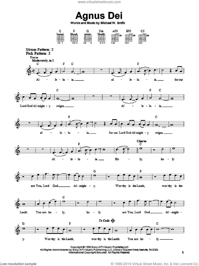 Agnus Dei sheet music for guitar solo (chords) by Michael W. Smith, easy guitar (chords)
