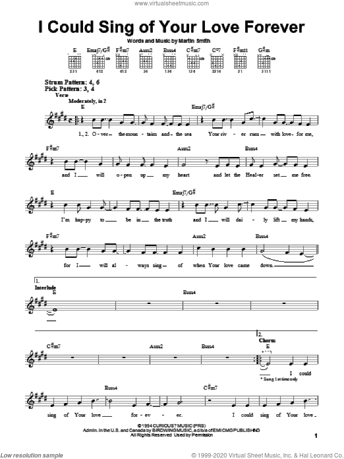 I Could Sing Of Your Love Forever sheet music for guitar solo (chords) by Delirious?, Passion Band and Martin Smith, easy guitar (chords)