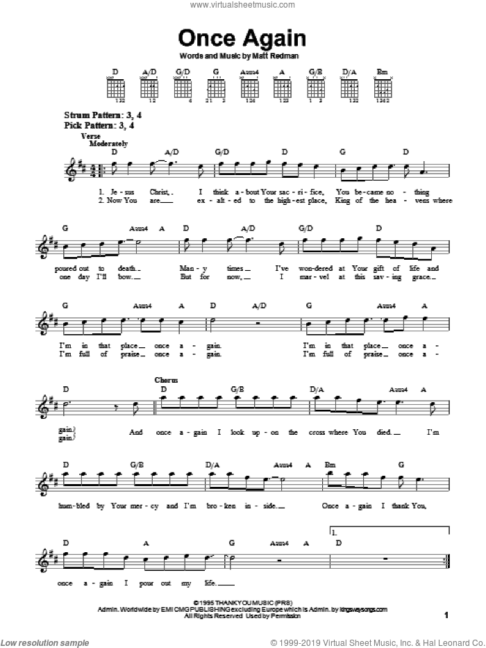 Once Again sheet music for guitar solo (chords) by Matt Redman. Score Image Preview.