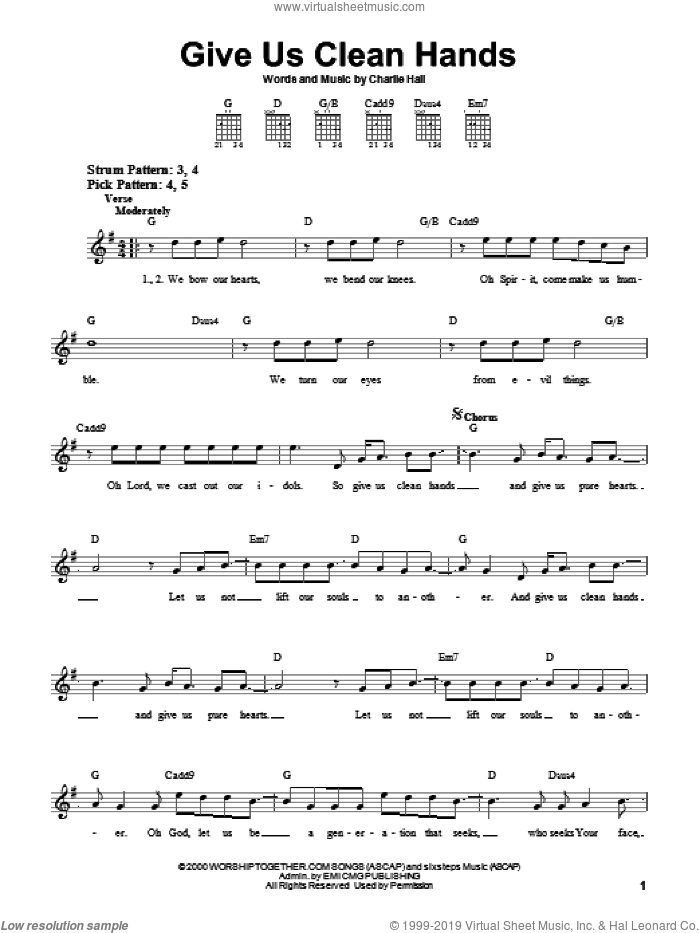 Give Us Clean Hands sheet music for guitar solo (chords) by Chris Tomlin and Charlie Hall, easy guitar (chords)