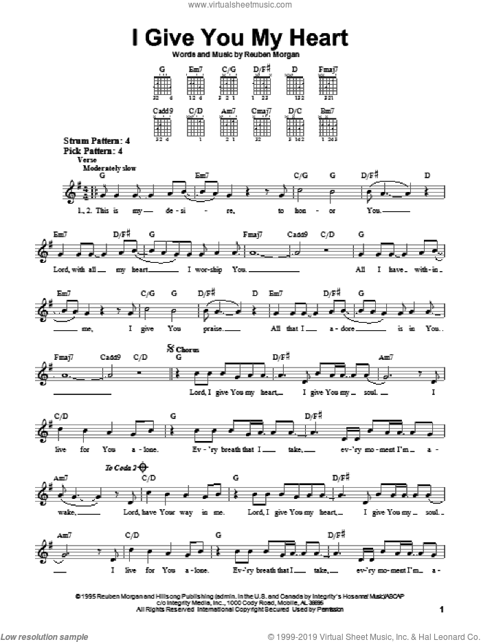I Give You My Heart sheet music for guitar solo (chords) by Reuben Morgan, Jeff Deyo and The Katinas, easy guitar (chords)