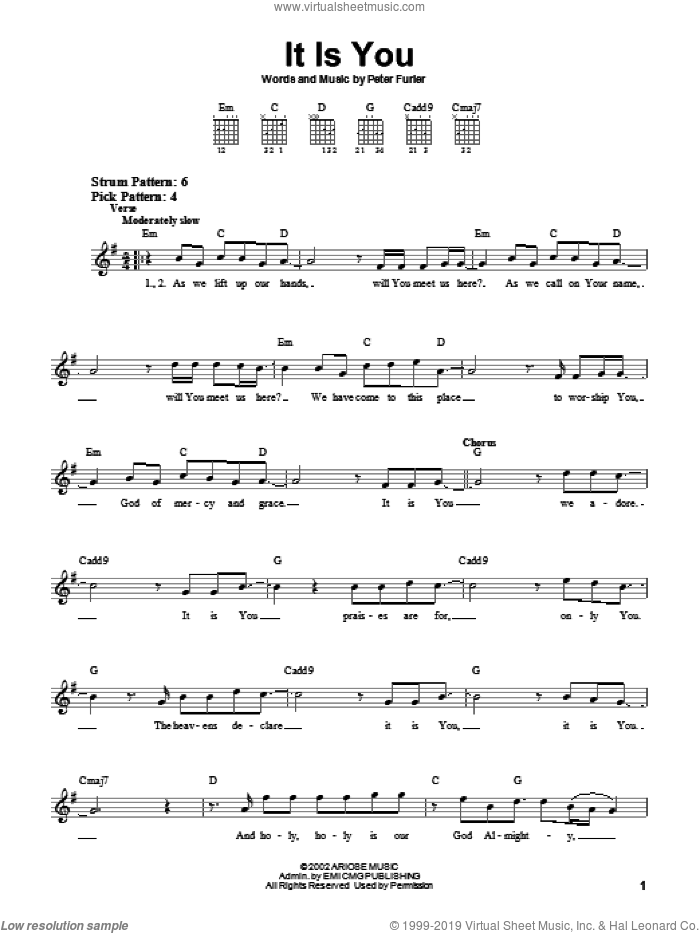 It Is You sheet music for guitar solo (chords) by Newsboys and Peter Furler, easy guitar (chords)