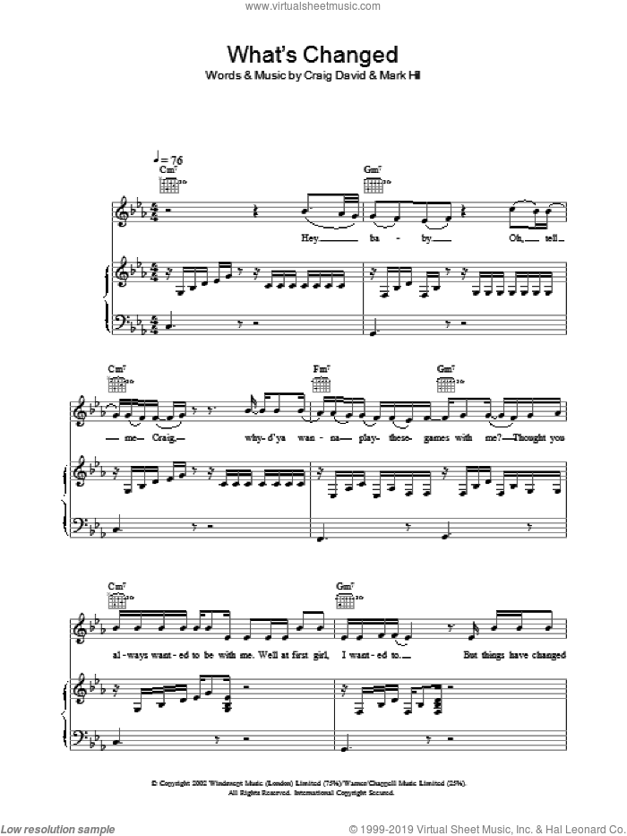 What's Changed sheet music for voice, piano or guitar by Craig David. Score Image Preview.