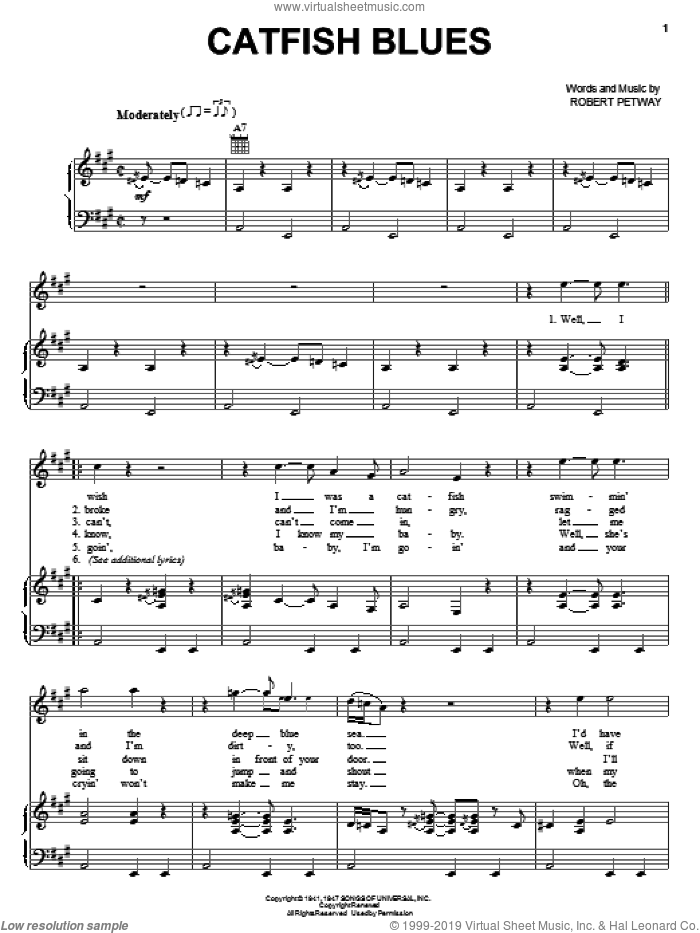 Catfish Blues sheet music for voice, piano or guitar by Jimi Hendrix and Robert Petway, intermediate skill level