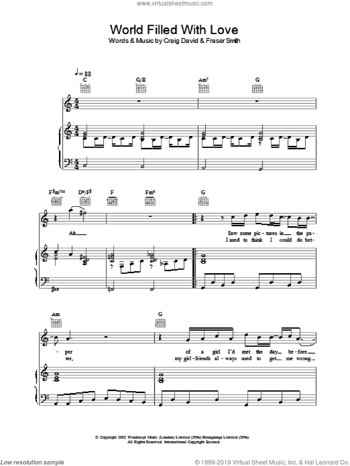 World Filled With Love sheet music for voice, piano or guitar by Craig David. Score Image Preview.