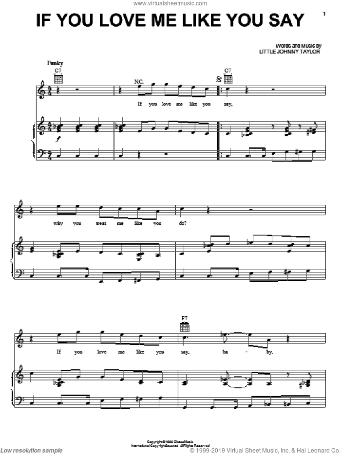 If You Love Me Like You Say sheet music for voice, piano or guitar by Little Johnny Taylor