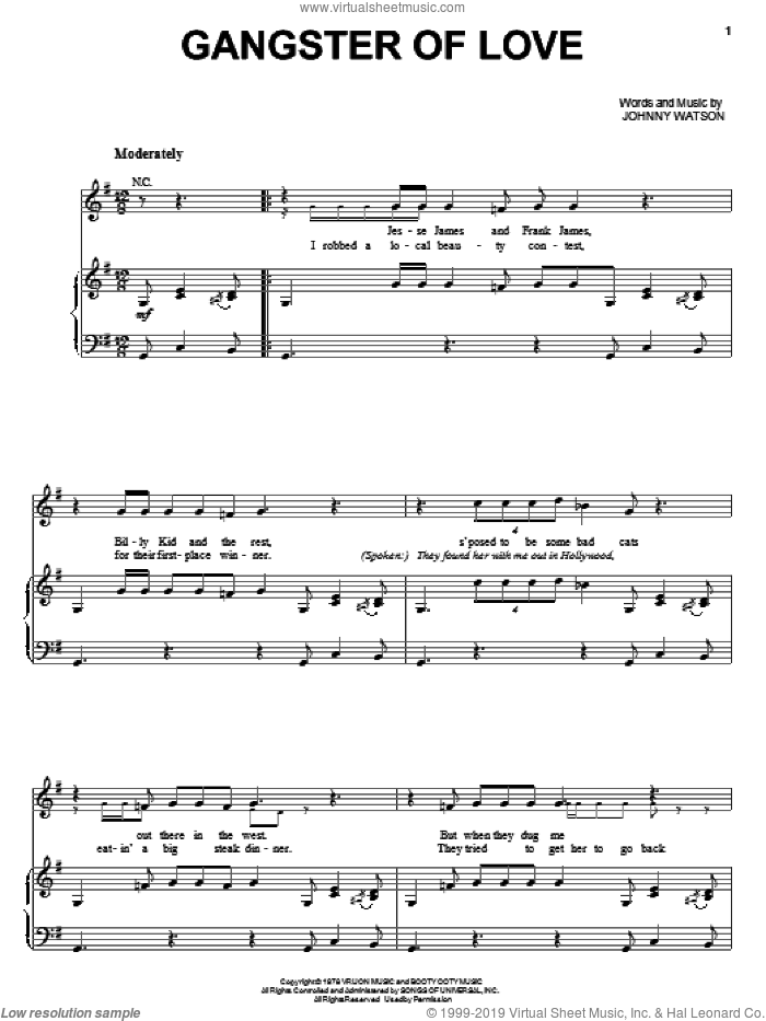 Gangster Of Love sheet music for voice, piano or guitar by Johnny Watson, intermediate skill level