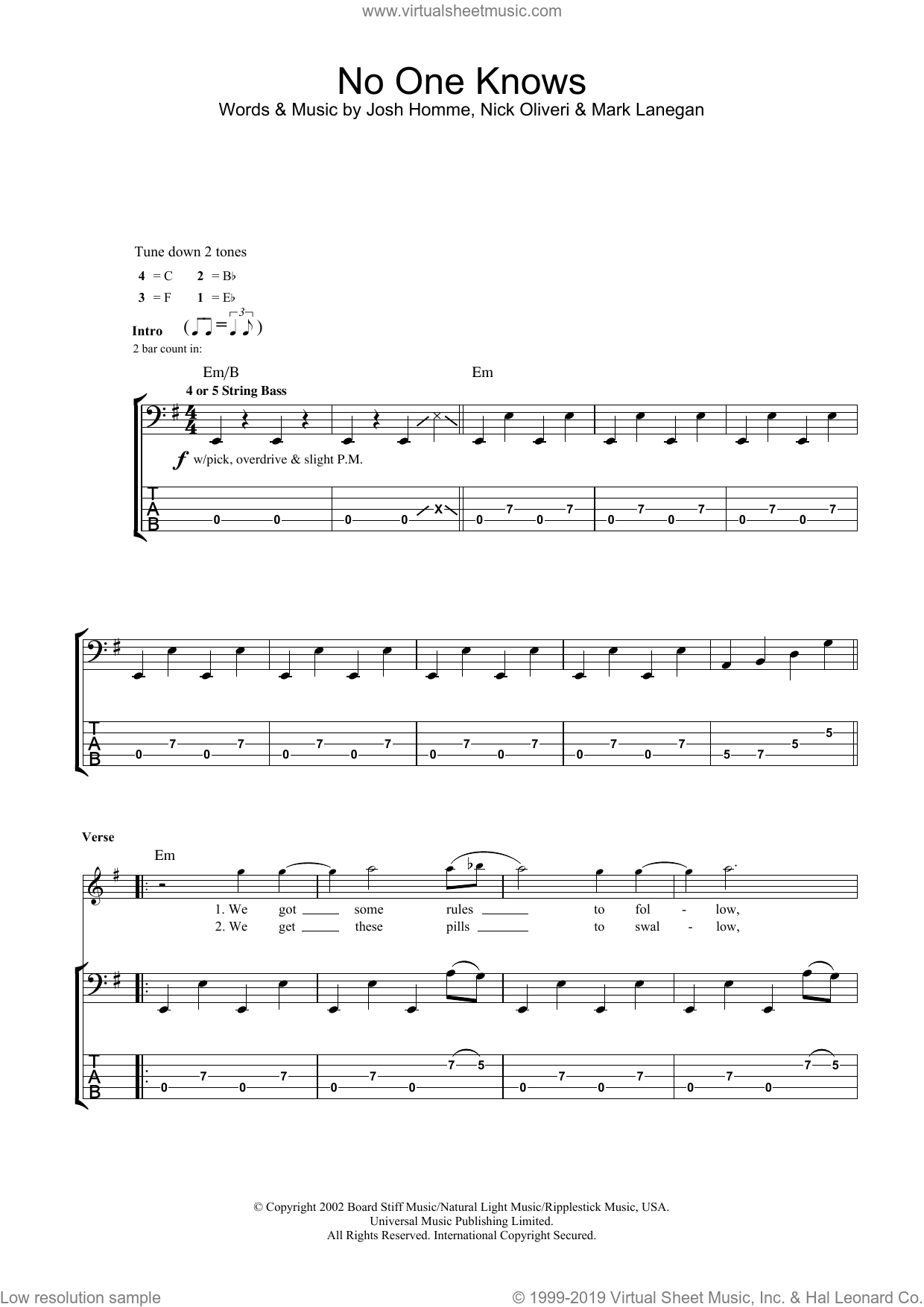 No One Knows sheet music for bass (tablature) (bass guitar) by Queens Of The Stone Age, Josh Homme, Mark Lanegan and Nick Oliveri, intermediate skill level