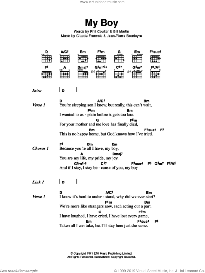 My Boy sheet music for guitar (chords) by Claude Francois
