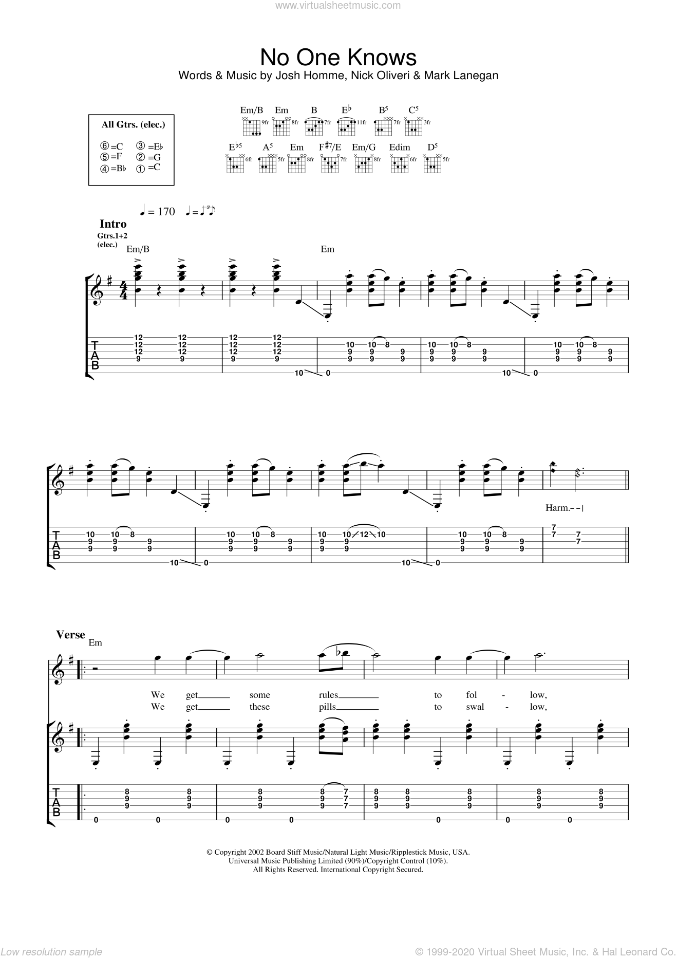 No One Knows sheet music for guitar (tablature) by Queens Of The Stone Age, Josh Homme, Mark Lanegan and Nick Oliveri, intermediate skill level