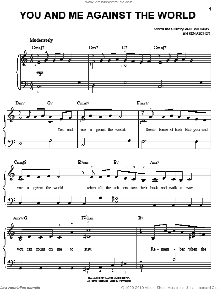 You And Me Against The World sheet music for piano solo by Helen Reddy, Ken Ascher and Paul Williams, wedding score, easy skill level