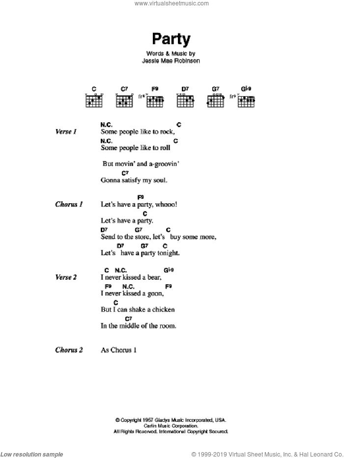 Party sheet music for guitar (chords) by Jessie Mae Robinson and Elvis Presley. Score Image Preview.
