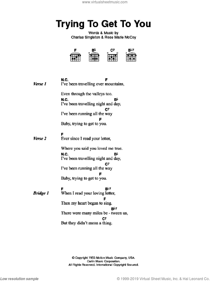 Trying To Get To You sheet music for guitar (chords) by Charles Singleton and Elvis Presley. Score Image Preview.