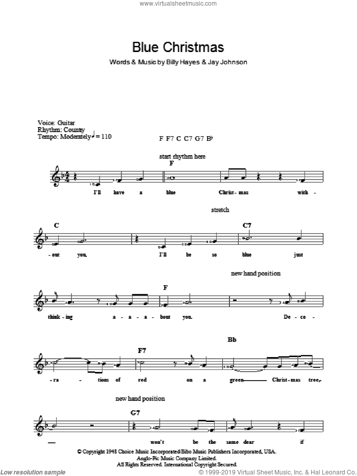 Blue Christmas sheet music for piano solo (chords, lyrics, melody) by Elvis Presley, intermediate piano (chords, lyrics, melody)