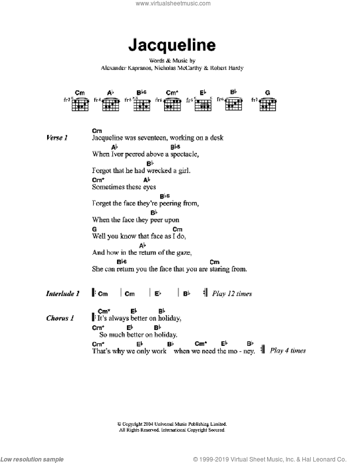 Jacqueline sheet music for guitar (chords) by Alexander Kapranos, Franz Ferdinand, Nicholas McCarthy and Robert Hardy. Score Image Preview.