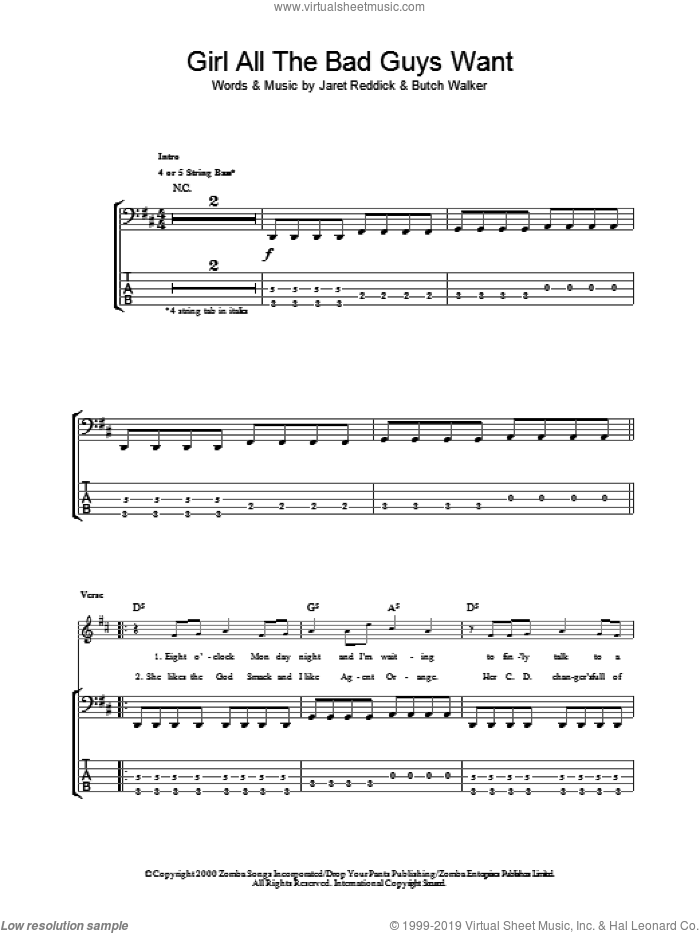 Girl All The Bad Guys Want sheet music for bass (tablature) (bass guitar) by Bowling For Soup. Score Image Preview.