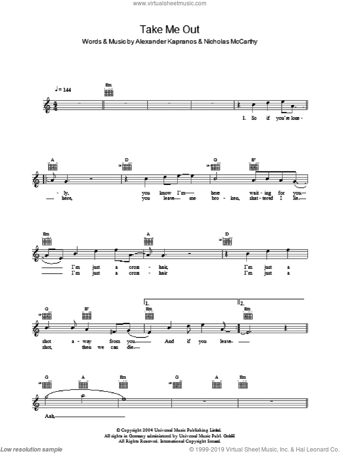 Take Me Out sheet music for voice and other instruments (fake book) by Nicholas McCarthy, Franz Ferdinand and Alexander Kapranos. Score Image Preview.