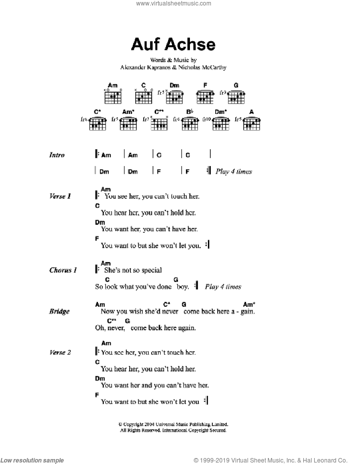 Auf Achse sheet music for guitar (chords) by Franz Ferdinand. Score Image Preview.