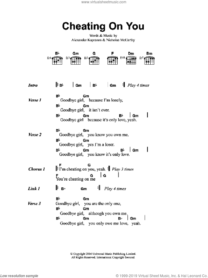 Cheating On You sheet music for guitar (chords) by Franz Ferdinand, Alexander Kapranos and Nicholas McCarthy, intermediate