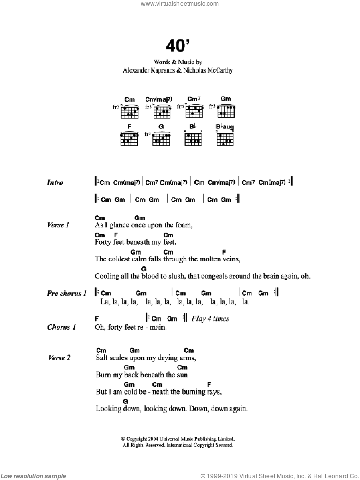 40' sheet music for guitar (chords) by Alexander Kapranos