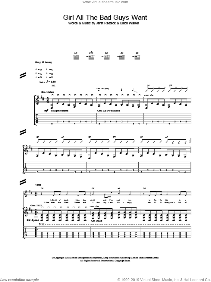 Girl All The Bad Guys Want sheet music for guitar (tablature) by Bowling For Soup, intermediate guitar (tablature). Score Image Preview.