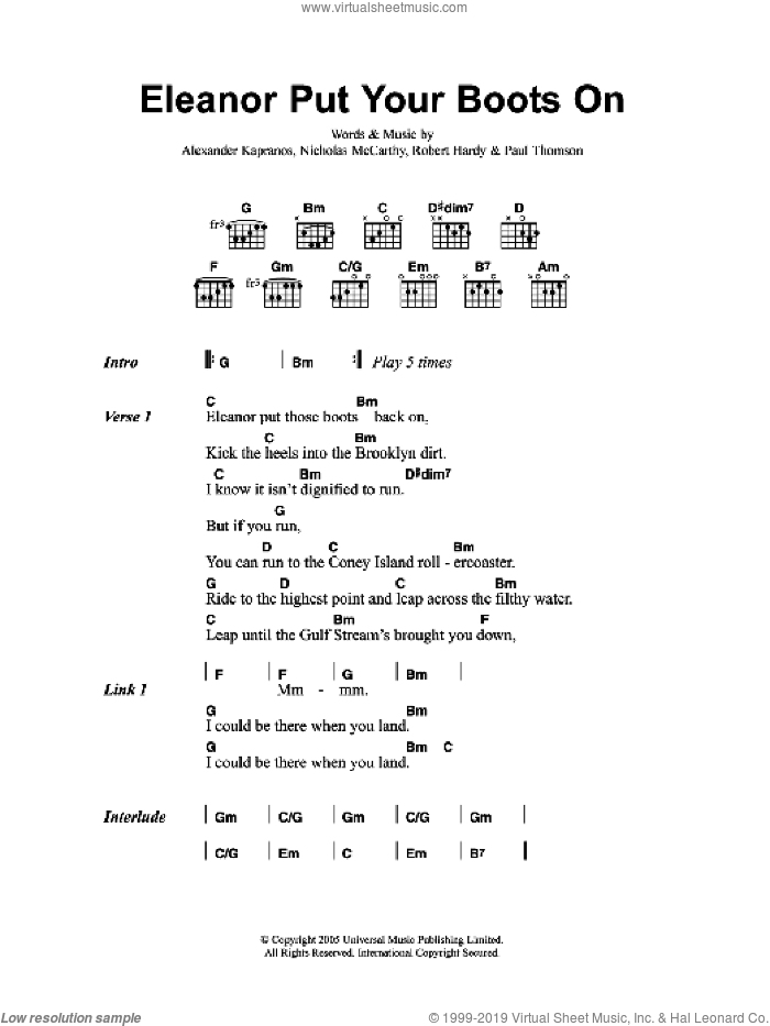Eleanor Put Your Boots On sheet music for guitar (chords) by Franz Ferdinand, intermediate. Score Image Preview.