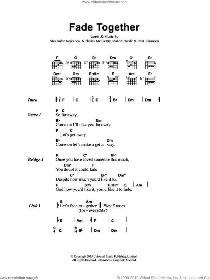 Fade Together sheet music for guitar (chords) by Alexander Kapranos, Franz Ferdinand, Nicholas McCarthy and Robert Hardy. Score Image Preview.