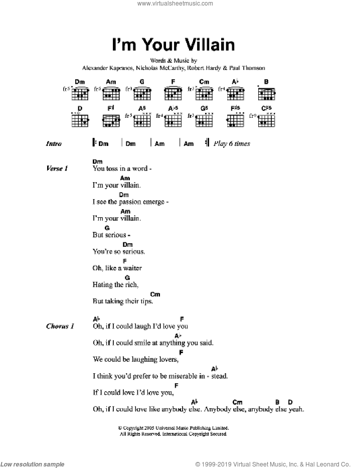 I'm Your Villain sheet music for guitar (chords) by Franz Ferdinand. Score Image Preview.