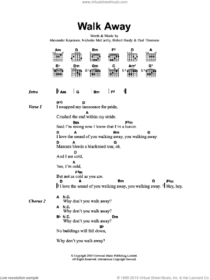 Walk Away sheet music for guitar (chords) by Alexander Kapranos, Franz Ferdinand and Nicholas McCarthy. Score Image Preview.