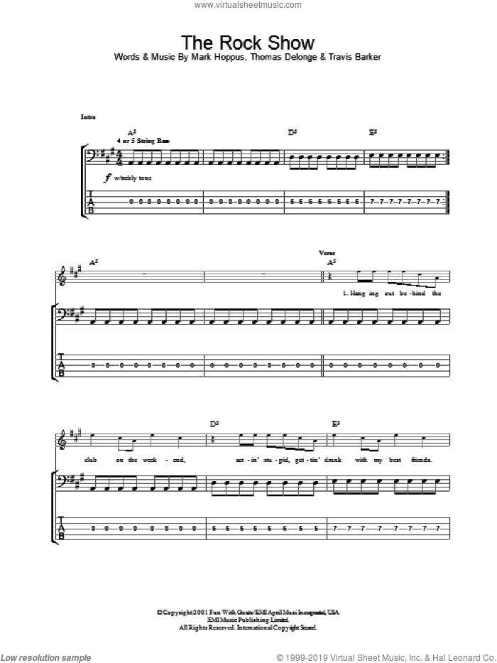 The Rock Show sheet music for bass (tablature) (bass guitar) by Blink-182. Score Image Preview.