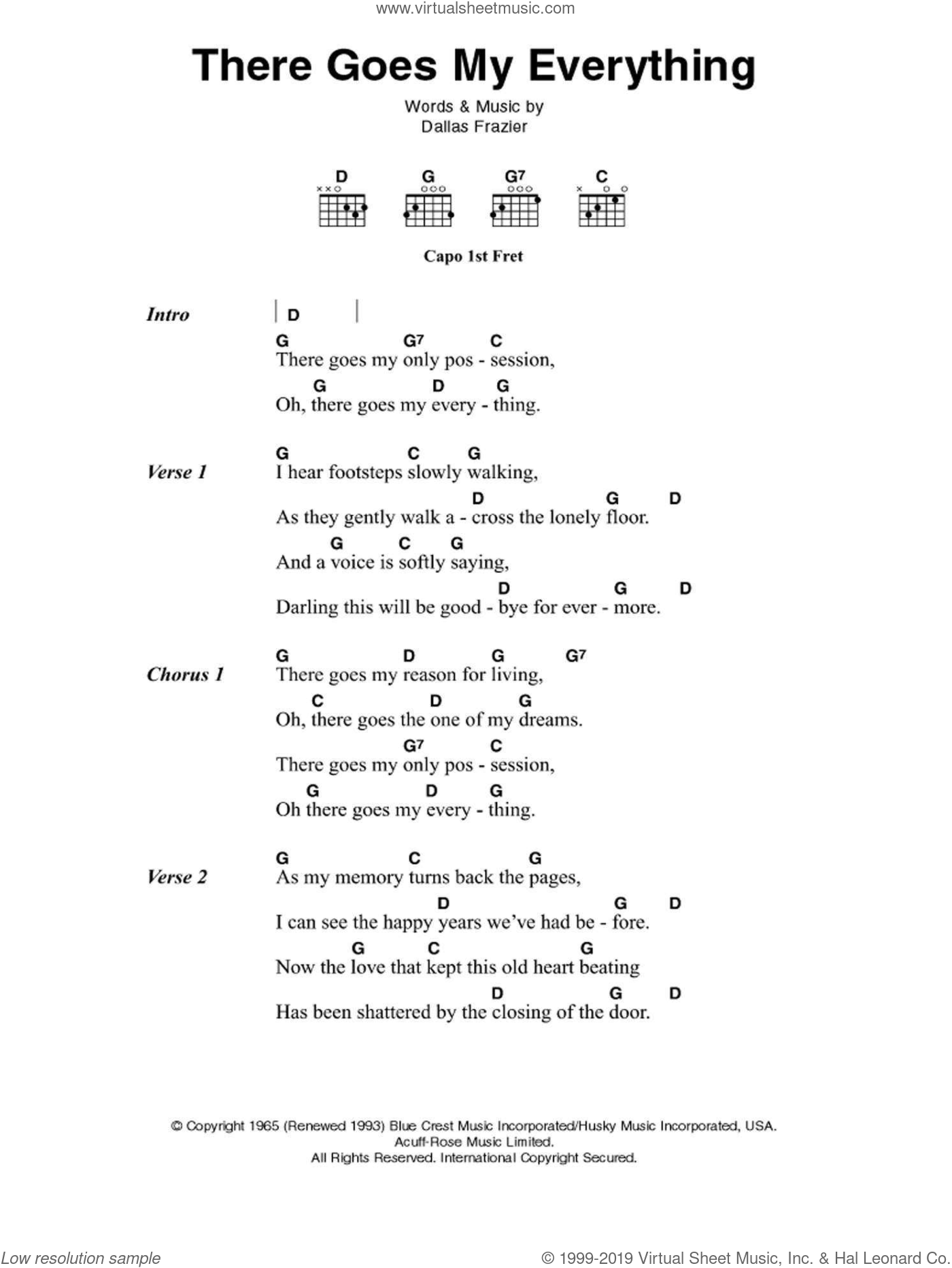 There Goes My Everything sheet music for guitar (chords) by Elvis Presley, Jack Greene and Dallas Frazier, intermediate skill level