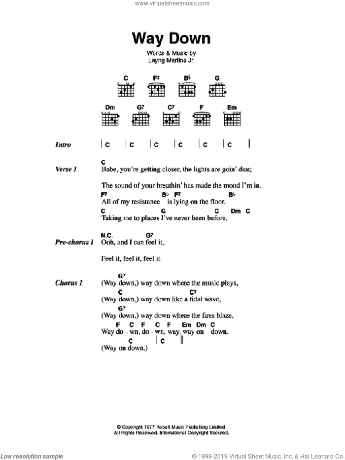 Way Down sheet music for guitar (chords) by Elvis Presley and Layng Martine, intermediate skill level
