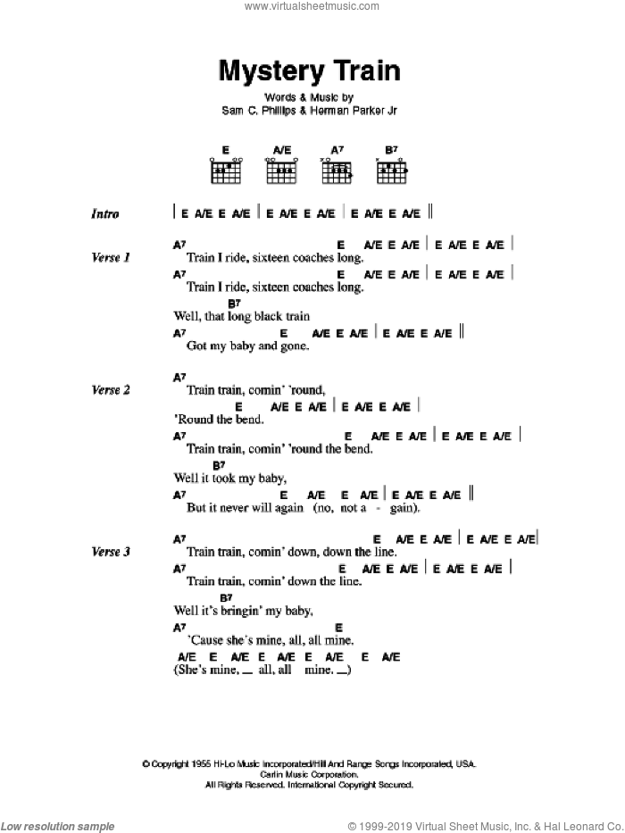 Mystery Train sheet music for guitar (chords) by Herman Parker Jr, Elvis Presley and Sam C. Phillips