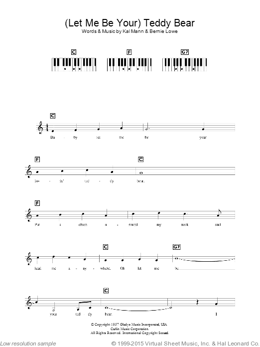 (Let Me Be Your) Teddy Bear sheet music for piano solo (chords, lyrics, melody) by Bernie Lowe