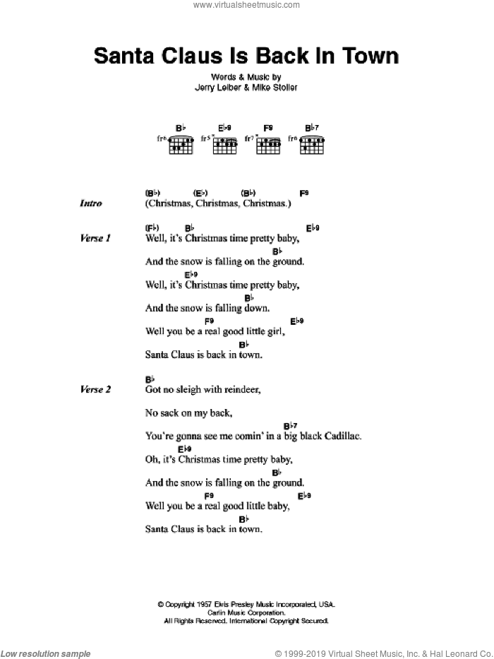 Santa Claus Is Back In Town sheet music for guitar (chords) by Elvis Presley, Jerry Leiber and Mike Stoller, intermediate skill level