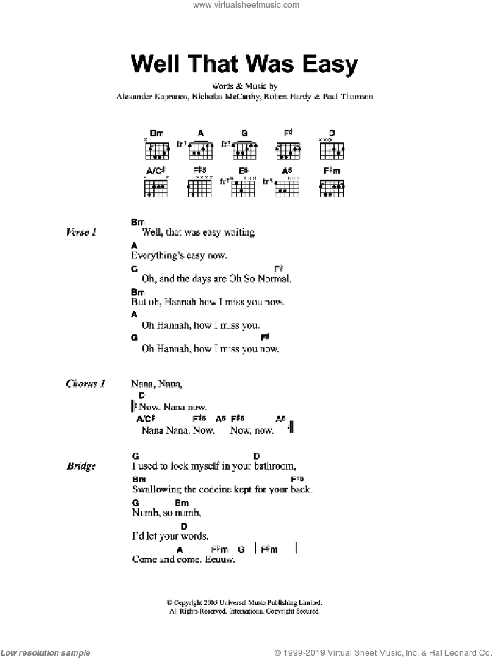 Well That Was Easy sheet music for guitar (chords) by Franz Ferdinand, Alexander Kapranos, Nicholas McCarthy, Paul Thomson and Robert Hardy, intermediate skill level